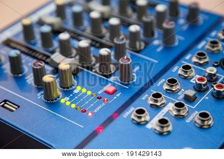 The equipment for recording. Sound mixing console.