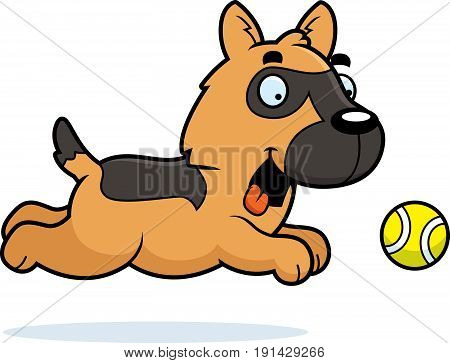 Cartoon German Shepherd Chasing Ball