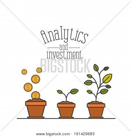 white background with colorful plantpot process increase economy analytics and investment vector illustration