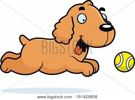 Cartoon Cocker Spaniel Chasing Ball