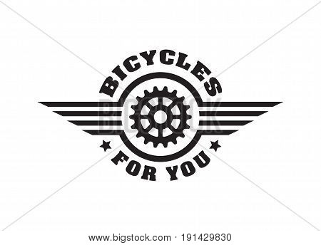 bike badge vintage. Sports logo sticker for print on t-shirt, retro monochrome design, shop for bicycle gear, parts and accessories. Vector flat style illustration isolated on white background