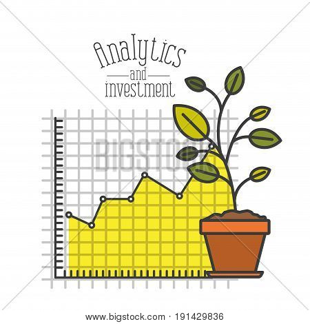 white background with colorful plantpot and grid with graphics growth economy analytics and investment vector illustration