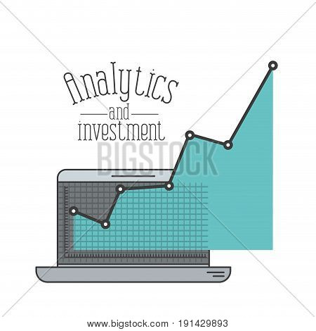 white background with colorful laptop computer grid with graphics growth economy analytics and investment vector illustration