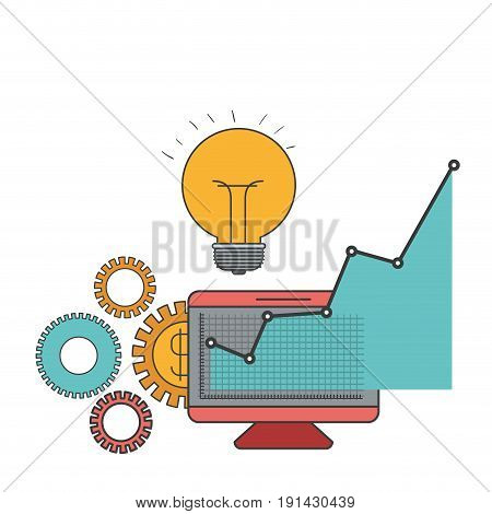 white background with colorful display computer and graphics growth economy vector illustration