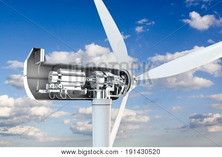 3d illustration of a power turbine mechanical section
