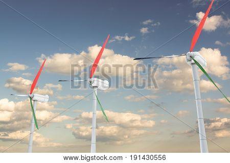3d illustration of power turbines on sky background