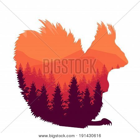 Forest animal squirrel on white background great