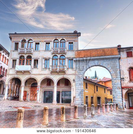 The old village of Serravalle in Vittorio Veneto. Arch of Piazza Marc Antonio Flaminio