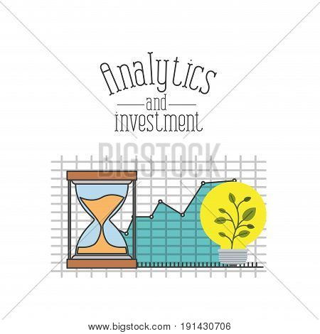 white background with colorful grid with graphics growth economy and plantpot symbol hourglass vector illustration