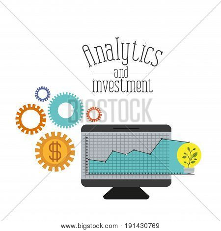 white background with colorful screen computer grid with graphics growth economy analytics and investment vector illustration