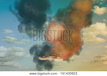 3d illustration of a fidget spinner in the sky