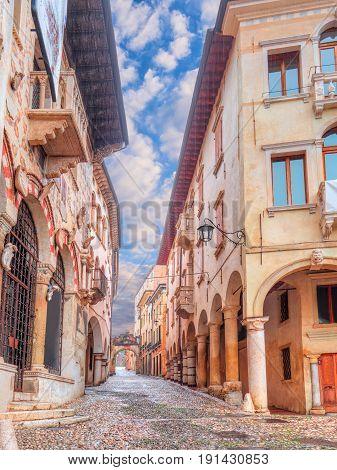 Old street in old village of Serravalle, Vittorio Veneto, Italy