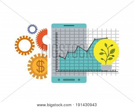 white background with colorful smartphone and grid with graphics growth economy vector illustration