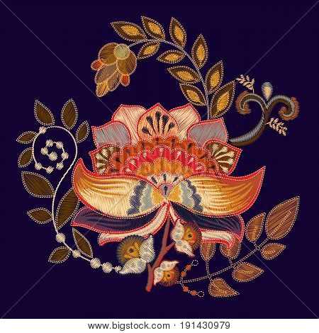 Vector embroidery print with big flower. Floral folk template on black background for fashion design. Embroidery imitation