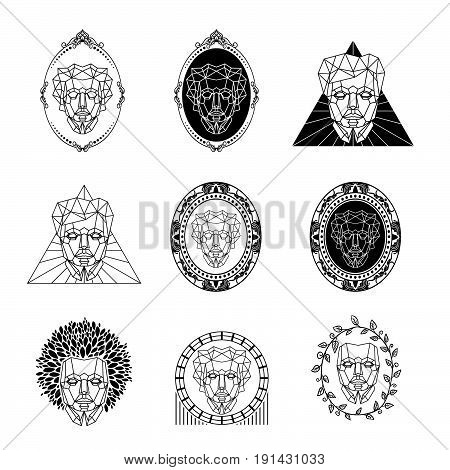 Head illustrations have some selection of eps images and are either used for feline logos or clock products and elegant logos