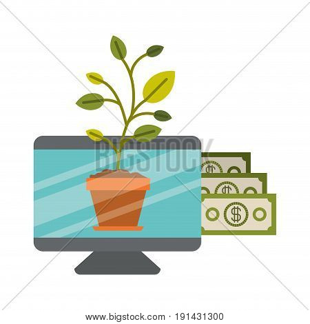 white background with colorful display computer with bills and plantpot vector illustration