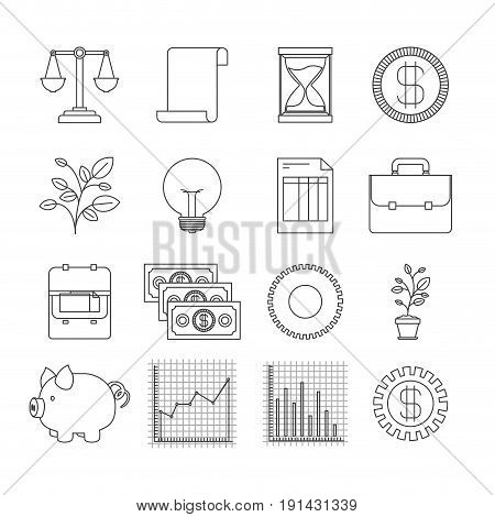 white background with silhouette set elements increase economy vector illustration