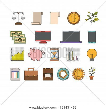 white background with colorful set elements increase economy vector illustration