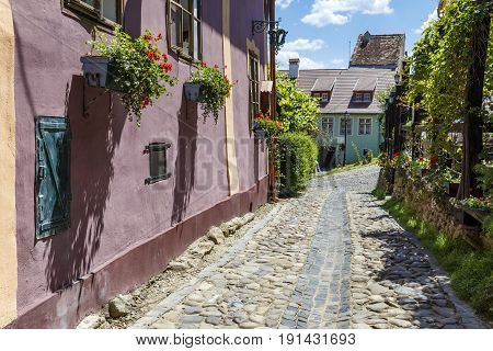 Stone paved old streets with colorful houses in Sighisoara fortress, Transylvania, Romania, Europe