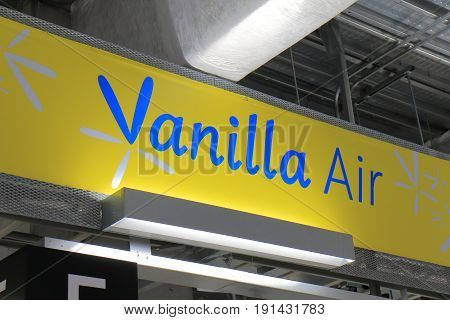 YOKOHAMA JAPAN - MAY 29, 2017: Vanilla Air aviation company sign. Vanilla Air s a low cost airline in Japan wholly owned by ANA All Nippon Airways.