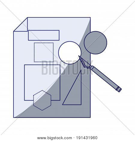 white background with blue shading silhouette of sheet with geometric forms and scalpel vector illustration