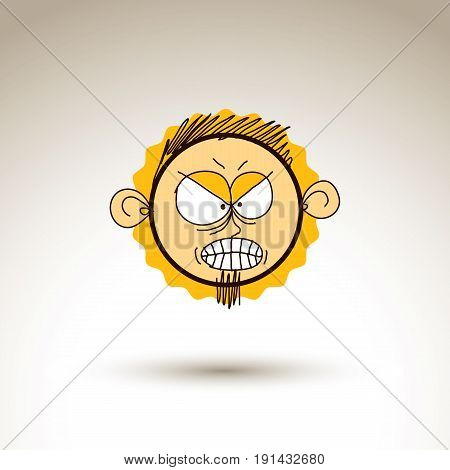 Vector graphic drawing of angry person face bizarre male portrait. Social network theme illustration human emotions idea.