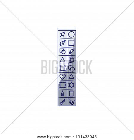 white background with blue shading silhouette of basic tool box for designer graphic vector illustration