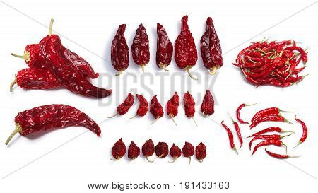 Dried chile peppers: Hot wax AnaheimHabanero Bhut Jolokia De Arbol. Clipping paths shadows separated top view