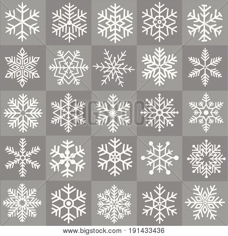 Save Download Preview Cute snowflake collection isolated on white background. Flat snow icons snow flakes silhouette. Nice snowflakes for christmas banner cards.