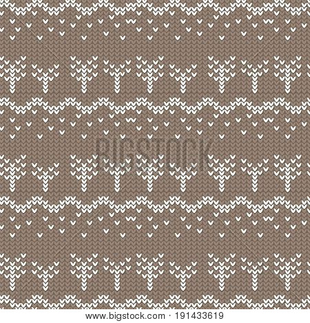 brown and white curved and tree with spot knitting pattern background vector illustration image