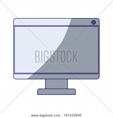 white background with blue shading silhouette of lcd monitor vector illustration