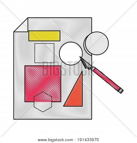 white background with colored crayon silhouette of sheet with geometric forms and scalpel vector illustration