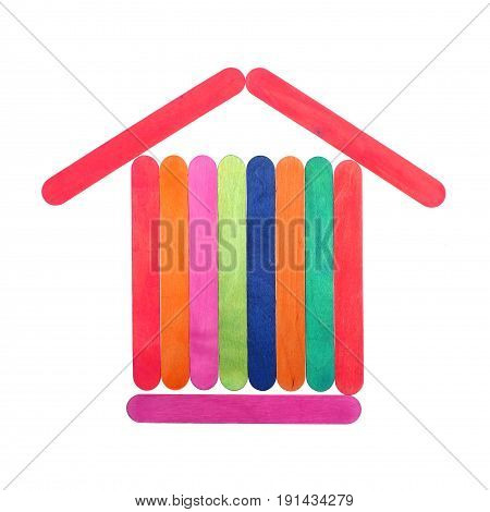 Colorful wood ice lolly sticks Ice cream sticks isolated on white background