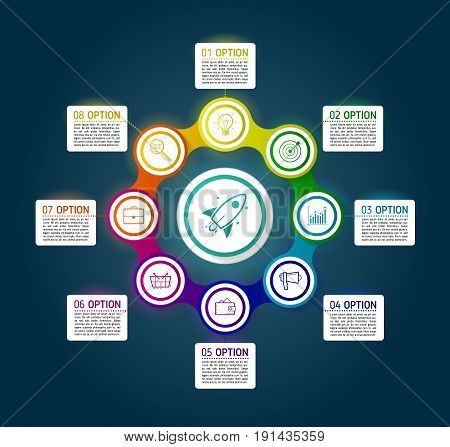 Dark circle colorful chain diagram infographics for presentations. Black infographics background template with 8 options. Metaball circular elements with icons and text blocks