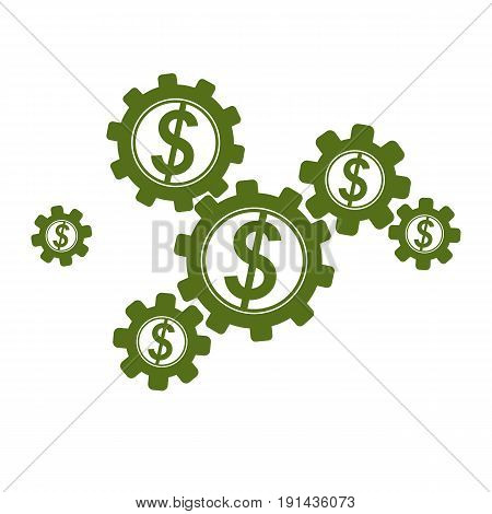 Financial System conceptual logo unique vector symbol. Dollar signs circulation of money.
