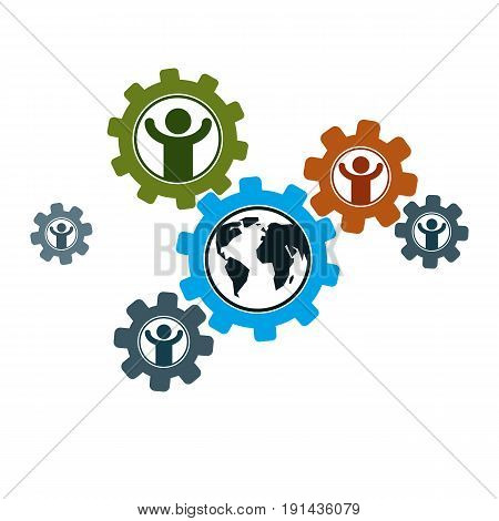 World and Person creative logo unique vector symbol created with different icons. System and social Matrix sign. Person and humankind interacts with each other. System and social Matrix sign.