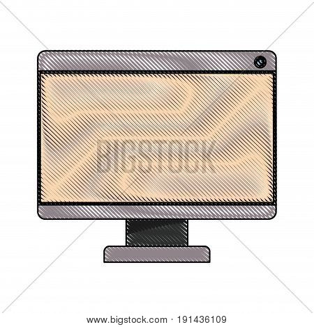 white background with colored crayon silhouette of lcd monitor vector illustration