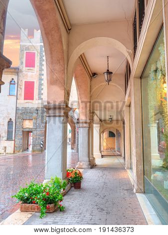 Old buildings and streets architecture in village of Serravalle in Vittorio Veneto, Italy