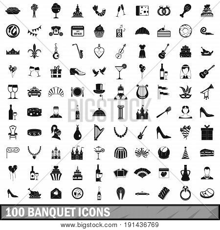 100 banquet icons set in simple style for any design vector illustration