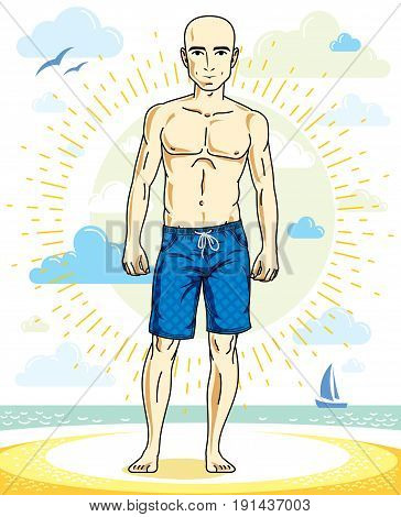 Handsome bald young man standing on tropical beach in bright shorts. Vector athletic male illustration. Summer vacation lifestyle theme cartoon.