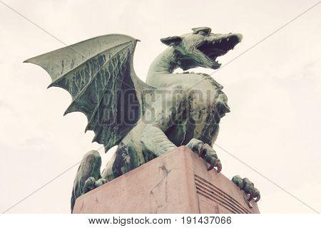 Low angle view of dragon bridge against sky; Slovenia; Ljubljana