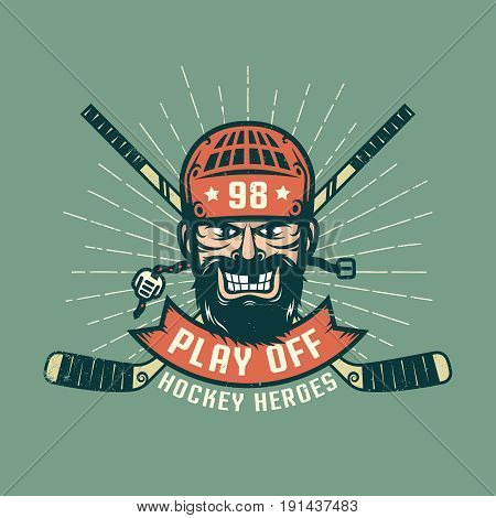Retro playoff logo with bearded hockey player crossed sticks and sunburst. Worn texture on a separate layer and can be easily disabled.