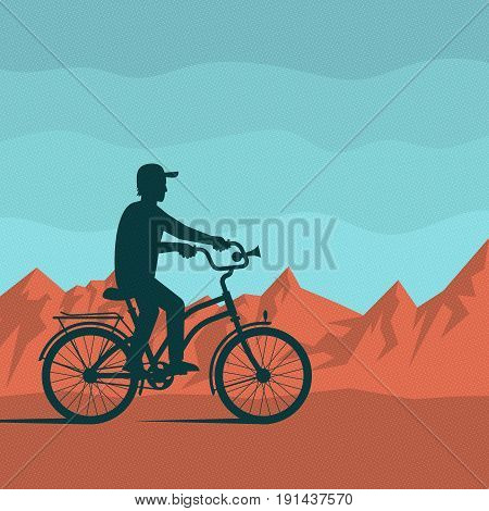 Lonely silhouette of a cyclist on a background of red mountains and blue sky. Vector illustration in retro style. Dots on separate layer and easily deactivated.