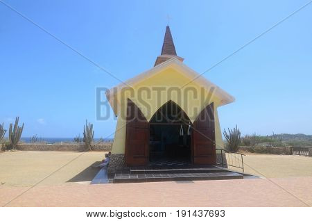 Scenic View of Alto Vista Chapel in Noord Aruba.