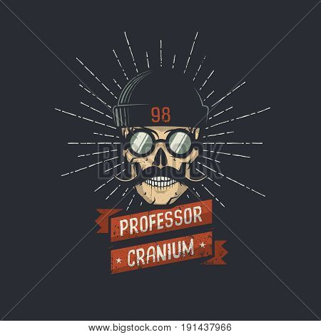 Stylish skull wearing hat glasses and mustache with ribbon and professor cranium words. Retro hipster emblem. Vector illustration. Worn texture on a separate layer and can be easily disabled.
