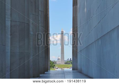 The Washington Monument and US Capitol seen from the Lincoln Memorial.
