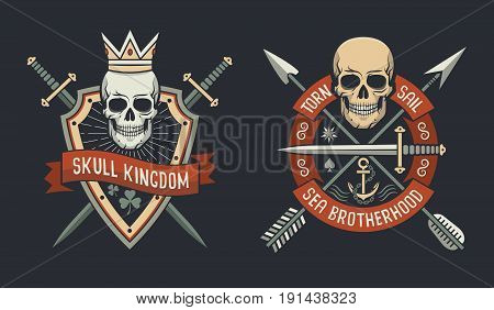 Skulls on shield logo of skull kingdom and sail brotherhood with arrows and swords crossed. Vector illustration.