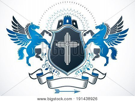 Vintage heraldry design template vector emblem made using mythic Pegasus Christianity cross and medieval castle.