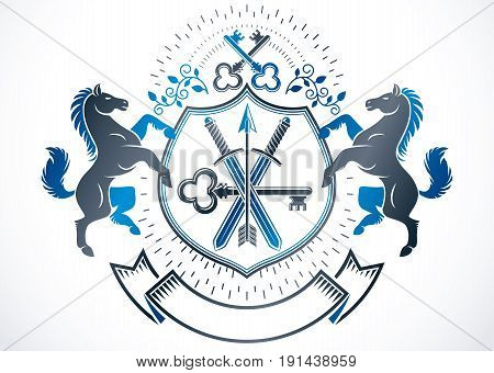 Vintage heraldry design template vector emblem composed with graceful horse illustration security keys and weapon