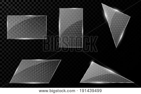 Glass geometric objects with a cyber pattern from honeycombs. A set of blank banners for your projects. Hi-tech in design. Realistic clear glass. Vector illustration. EPS 10